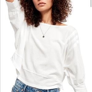 Free People White Cropped Cotton T-Shirt NEW